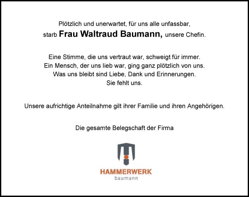 TraueranzeigeWaltraud Baumann